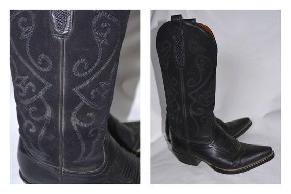 New Look 6 39 en daim noir Cuir Bottines Cowboy Western à Festival-afficher le titre d'origine