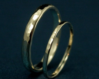 The Duet Wedding Set -14K Gold Hammered Wedding Set-Wider Band is 4mm Wide by 2mm Thick—Thinner Band is 1.5mm Wide by .7mm Thick