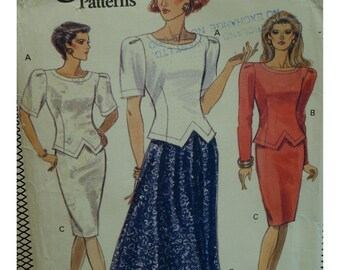 Two Piece Dress Pattern, Fitted Top, Shaped Hem, Round Neck, Long/Short Sleeves, Fitted/Flared Skirt, Vogue No. 7778 UNCUT Size 12 14 16