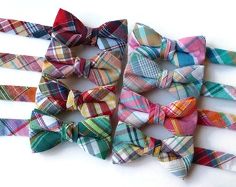Boys Patchwork Plaid Bow Ties~Boys Bow Tie~Boys Plaid Bow Ties~Cotton Bow Tie~Navy Bow Tie~Church Tie~Plaid Bow Tie~Wedding~Ring Bearer~Gift