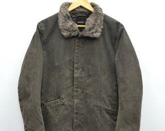 BOYCOTT Jacket Vintage Boycott Made In Japan Fur Collar Button Hunting Jacket Size S-M