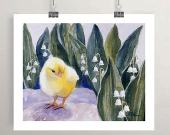 Baby Chick, Chicken Animal Art Print, Watercolor Artwork, Wall Decor for Girls Room, Nursery Printed Wall Art by Janet Zeh Zehland