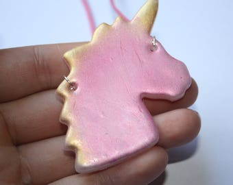 Necklace with pink and gold XXL polymer clay Unicorn