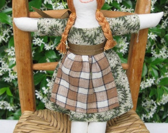 Hand made small rag doll -  Cassandra in green print dress with checked apron