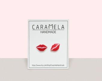 Lips Earrings, Red lips stud Earrings, Lips Jewelry Lips Studs Gift Idea For Her