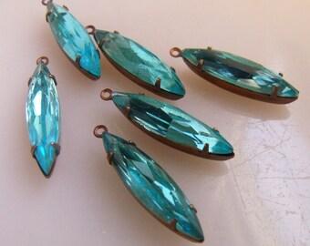Aqua Blue 24X6mm Glass Navette Earring Drops 6 Pcs