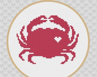 Crab Silhouette Cross Stitch Pattern