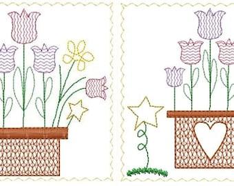 Basket of Tulips 5x7 Hand Towel Blocks Primitive Machine Embroidery Designs