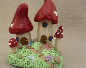Gnome Home: Loving Neighbors - Miniature Mushroom Figurine - Fantasy Sculpture