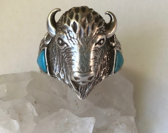 vintage sterling and turquoise buffalo ring, size 11