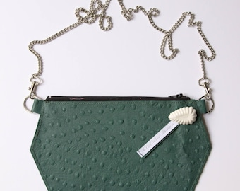 Leather clutch, pouch shoulder bag genuine leather green ostrich, mini shoulder bag design and modern!