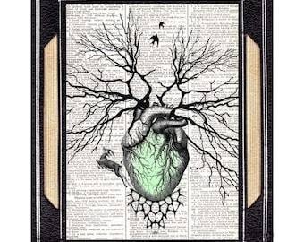 HEART as forest tree art print wall decor on vintage dictionary book page cardiology anatomical surreal illustration green human heart 8x10