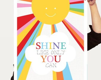 sunshine print baby nusery art, inspirational quote, wall art, decor, baby boy, baby girl, play room art, colourful rainbow bright, sun art