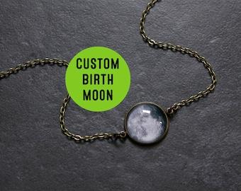 Birth Moon Necklace Bronze - Personalised Birthmoon Pendant - Custom Glass Dome full moon Necklace Birthday Birthstone