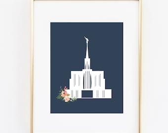 seattle washington lds temple floral 8x10 art print instant download