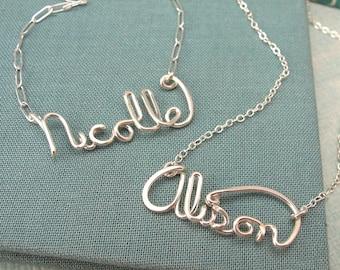 Custom Script Name Necklace in sterling silver