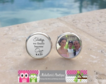 Custom Photo and Personalized Groom Cuff Links,Today we finally become one,Mens Cufflinks,Wedding keepsake,Wedding Party Gifts,Gifts for Him