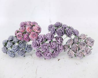 1.5 cm mulberry paper purple shade paper roses set - 15mm assorted violet purple mulberry paper roses