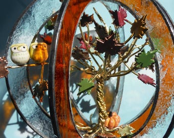 Autum Art in Bloom, Leaves in Fall Colors, Happy Owl Pair in Harvest Scene, Handmade in Stained Glass Whirl, Suncatcher