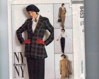 1990s Sewing Pattern McCalls 8453 Misses Lined Jacket Pants Shirt Suit Vented Back Retro Long Line Size 12 Bust 34 90s 1996 UNCUT  99