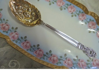 Vintage Towle Sterling Silver And Vermeil Serving Spoon, Monte Cristo, Gold Wash. Wedding, Shower, Engagement Gift