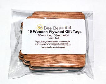 10 x Wooden Plywood Gift / Name Tags / Luggage tags