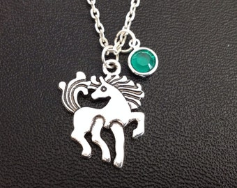 Birthstone Horse Necklace, friendship jewelry, horse necklace, equestrian necklace , horse lover gift, December birthday gift,cowboy jewelry