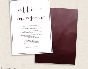 BURGUNDY - DIY Printable Save the Date - Modern Calligraphy and Watercolor Invitation - Double Sided - Maroon - Dark Red and White