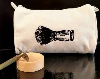 Embroidered Vintage Graphic Shaving Brush Men's Cotton Canvas Grooming Bag