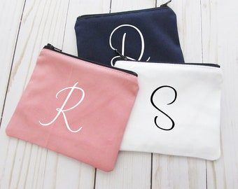 Coin Purse - Monogram Initial - Small Make up Bag - Change Purse - Small Credit Card Wallet - Zip Money Bag - CP01