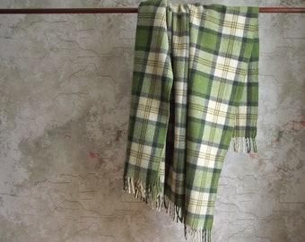 Wool Plaid Blanket , Vintage Throw Blanket with Fringe , Wool Plaid Stadium Camp Blanket , Wool Throw Blanket , Modern Rustic Decor