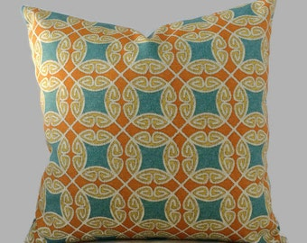 Orange Aqua Blue Outdoor Geometric Coastal Pillows // Zippered Patio Throw Pillow Cushion Cover // 14X14 16X16 all Lumbar sizes