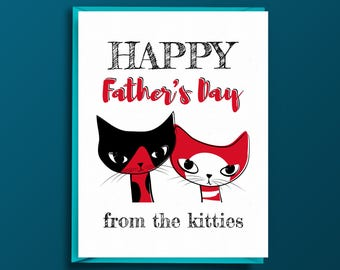 Fathers Day from Cats - Cats Greeting Card for Cat Dad - Happy Father's Day from the Kitties - For Husband, Dad, Boyfriend
