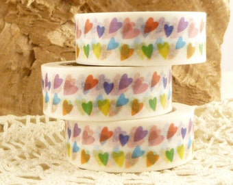 Tiny, Colorful Dancing Hearts Washi Tape - L1816