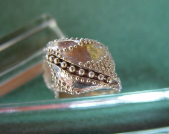 Unique sterling silver OOAK wide lost wax ring one of a kind size 8 (7)