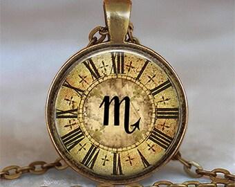 Steampunk Zodiac Scorpio pendant, Scorpio necklace, Astrology necklace, Scorpio jewelry Zodiac necklace keychain key chain key ring key fob
