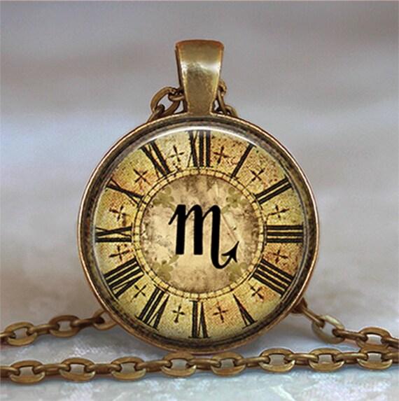Steampunk zodiac scorpio pendant scorpio necklace astrology mozeypictures Gallery