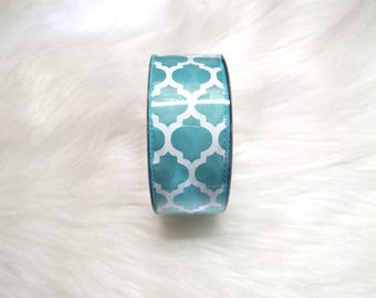 1.5X10yds-Aqua quatrefoil ribbon, Aqua lattice ribbon, Aqua quatrefoil ribbons, Aqua lattice ribbons, Aqua ribbon, Aqua wired ribbon