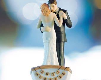Bride Groom Cake Topper, Wedding Couple in Row Boat, Wedding Cake Top Decorations, Wedding Figurines, Wedding Cake Topper