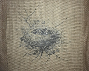 Baby Birds Nest Burlap Picture
