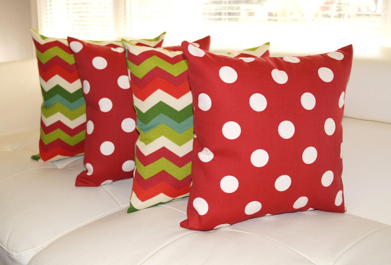 STUFFED Outdoor Pillow Chevron and Polka Dot Red Christmas