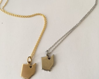 Ohio Heart Necklace // Gold or Silver