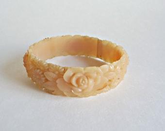Vintage Carved Celluloid Bracelet Floral Retro Bangle
