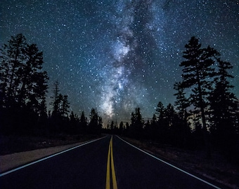 Milky Way photography,astrophotography,star photography,night photography,fine art photography,canvas art,wall art,road picture,Bryce Canyon