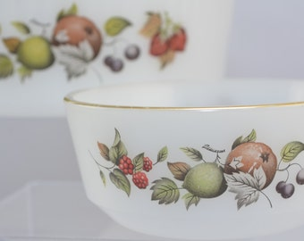 Phoenix Opalware bowls x 2, one large, one small, British Autumn fruits pattern