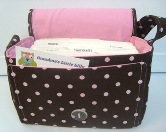 """10% OFF Large 4"""" Size Coupon Organizer /Budget Organizer Holder Box - Attaches to Your Shopping Cart  Brown with Pink Dots"""