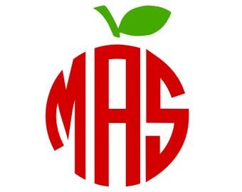 Apple Monogram Vinyl Decal Teacher Monogram Decal School Decor Teacher Gift