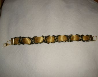 Crochet black and gold bracelet