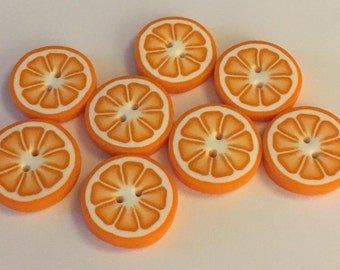 Button - fimo - sewing - orange - fruit buttons - handmade polymer clay buttons