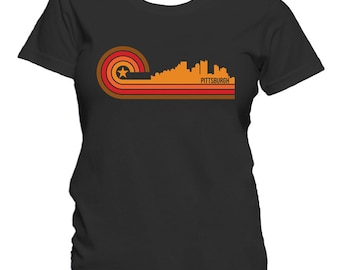 Retro Style Pittsburgh Pennsylvania Skyline Women's T-Shirt